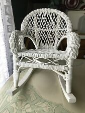 """White Wicker Rocking Chair American Girl Doll Furniture 10"""" Wide"""