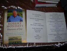 HARVEST OF JOY by Robert Mondavi & Menu from Winemaker of the Millennium Dinner