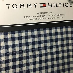 Tommy Hilfiger QUEEN Sheet Set Navy Blue White Menswear Gingham Check 4pc Free📦