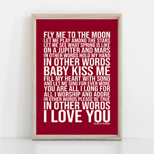 More details for frank sinatra fly me to the moon song lyrics poster print wall art
