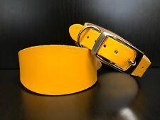 EXTRA SMALL Leather Dog Collar Greyhound Whippet Saluki YELLOW