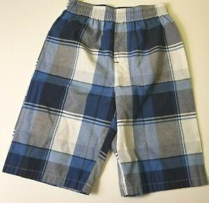 Justice League Boys size 6 Blue Gray Plaid Pull On Elastic Waist Shorts 6