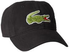 NEW LACOSTE AUTHENTIC LARGE CROCODILE MEN'S GABARDINE BLACK BACKSTRAP HAT CAP