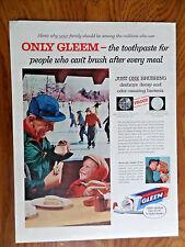 1957 Gleem Toothpaste Ad  Ice Skating Theme Grandpa Grandson Having Hotdog
