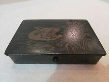 ancienne boite coffret papier maché carton bouilli decor de cygne