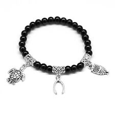 Round Black Crystal Turtle Wishbone Owl Charm Lucky Bracelet with Elastic Cord