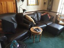 3 Piece Brown Real Leather Suite 1 Arm Chair, 2 Seater Sofa & 3 Seater Settee