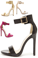 Womens Ankle Strap High Heels Open Toe Stiletto Sexy Sandals Patent PU-Leather