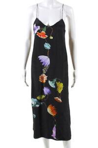Tibi Womens Silk Floral Kassia Slip Dress Black Size 0 13522087