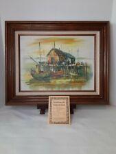 New ListingA.Simpson Fishing Boats Harbor Scene Original Oil On Canvas Seascape Painting
