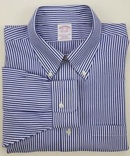 Brooks Brothers Shirt 16.5 33 Striped Blue White Classic Non Iron Cotton Size Sz