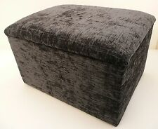 "LARGE GREY CHENILLE FABRIC STORAGE BOX/ FOOTSTOOL  SIZE 24"" x 24"" x 14"" HIGH"
