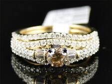 14k Yellow Gold Brown Cognac Diamond Solitaire Engagement Wedding Ring Set
