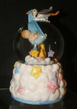 Stork Delivery Baby Boy Muscial Waterglobe with Rotating Clouds and Moon
