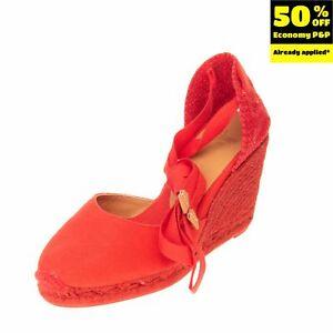 CASTANER Canvas Wedge Heel Espadrille Sandals EU 40 UK 7 US 9 Ankle Tie Woven