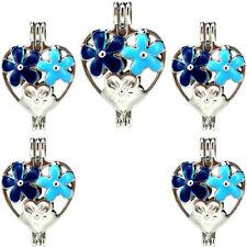 (5 Pack) Enamel Flower Heart Blue Pearl Beads Cage Locket Pendant K1005