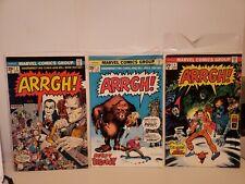 Aargh! #2 3 4 Marvel Comics 1975 Dracula Frankenstein Wolfman Bigfoot Kolchak