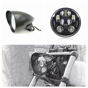 """5.75"""" matt black LED daymaker bullet headlight Harley Softail vrod touring FXST"""