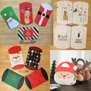 Christmas Pillow Boxes Paper Bag Candy Sweets Santa Reindeer Snow Gift Treat