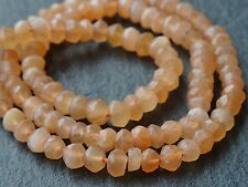 "HAND FACETED PEACH MOONSTONE RONDELLES, approx 4mm, 13"", 110+ beads"