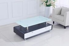 Modernique Cassetti Coffee Table with 2 Drawers White Glass Top in Black & White