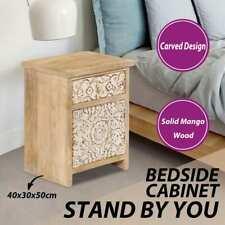 vidaXL Solid Mango Wood Bedside Table Carved Pattern Nightstand Side Table