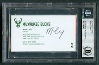 Marc Larsy signed autograph auto Milwaukee Bucks Owner Business Card BAS Slabbed