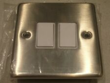 2 gang 1 or 2 way 10a stainless steel light switch in box Heritage Brass SSS992W