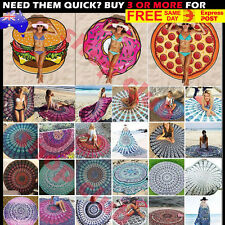 Round Boho Multi Indian Mandala Tapestry Throw Blanket Beach Towel Yoga Mats AU