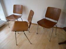 1(von3) Vintage 60er Mauser Teak Stuhl Stahlrohr Stapelstuhl Mid Century Design