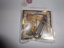 "Our Lady of Fatima -  1 3/4"" x 1/2""  Silver Tone Metal Pocket Statue w/ case"