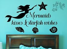 Mermaids Kisses and starfish wishes - Vinyl Wall Art Quote Decal Sticker