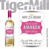 PERSONALISED pink wine bottle label Valentine Birthday Wedding Graduation Hen