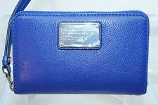 Marc By Marc Jacobs Classic Q Wingman Wallet Blue Phone Wristlet Leather NWT