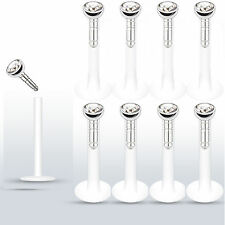 """8 Pc Press fit CZ 14g 3/8"""" (10mm) Bioflex Push In Lip Labrets Monroe Stud Ring"""