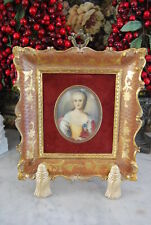 GREAT FLORENTINE ITALIAN FRAME WITH OVAL HAND PAINTED MINIATURE PAINTING B WILLS