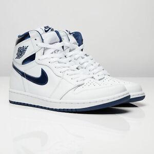 NEW Nike Air Jordan 1 Retro 555088-106 Men's Shoe Size 18 White/Metallic Navy