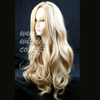 Fabulous Long Layers Wavy Wig Blonde mix Ladies Wigs Skin Top WIWIGS UK