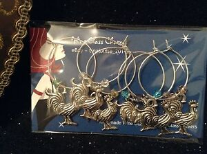 Wine Glass Charms - Single Design - Set of 6 - Rooster