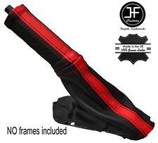 NERO & Rosso A Strisce in pelle e del freno Boot & MANIGLIA Cover Adatta DODGE VIPER 03-06