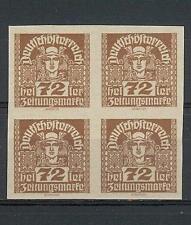 Austria 1920 Sc# P43 imperf Mercury 72h Manarchy issue newspaper block 4 MNH