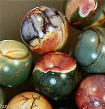 NATURAL 8MM PICASSO JASPER MULTICOLOR GEMSTONE ROUND BALL LOOSE BEAD STRAND 15""