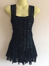 Caroline Morgan top blouse evening stretch ladies size M 10 sleeveless lace