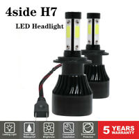 2x H7 4side LED Headlight Bulbs 120W 32000LM Conversion Kit High Low Beam 6000K