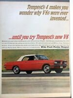1963 Pontiac Tempest V8 Vintage Advertisement Print Art Car Ad Poster LG70