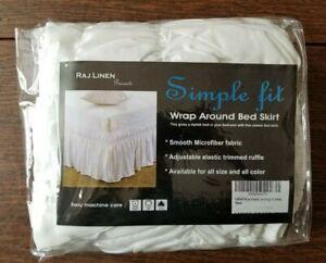 "Raj Linen Wrap Around Bed Skirt Dust Ruffle White King 18"" Drop"
