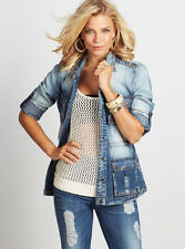 NWT GUESS Jeans $138 Denim Safari Shirt Jacket Indigo wash Blue XS 1 2 3