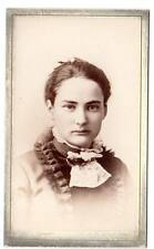 CDV image of young stern lady Victorian fashion Detroit Mi Randall photo