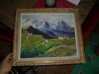 Ancien Tableau signé R Pingon 1951 Paysage de Montagne Alpes Alpin à identifier