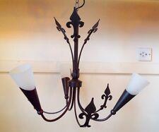FLEUR-DE-LYS 3 lt  Black Gold ceiling Light Fitting chandelier glass lamp shades